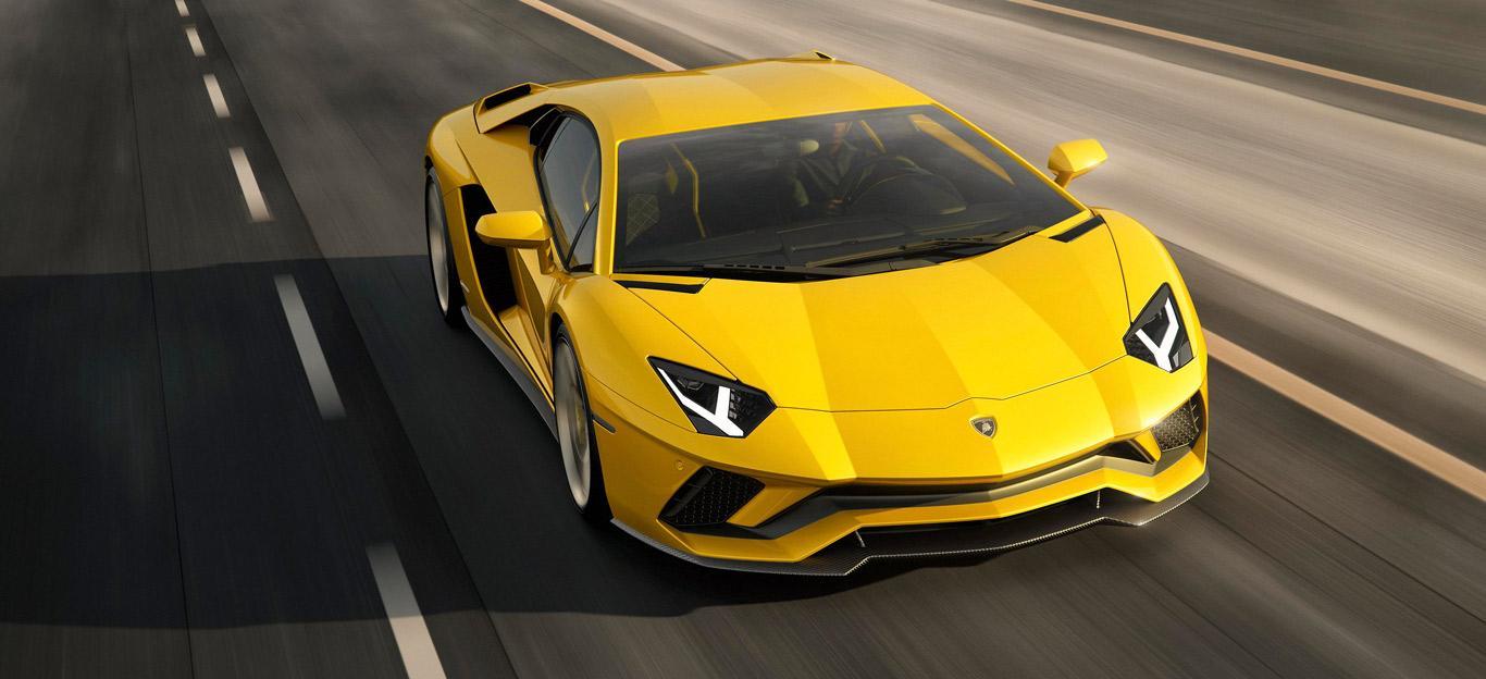 Ein gelber Lamborghini.