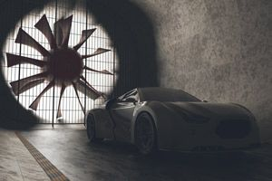 Ein Luxusfahrzeug in einem Windkanal.