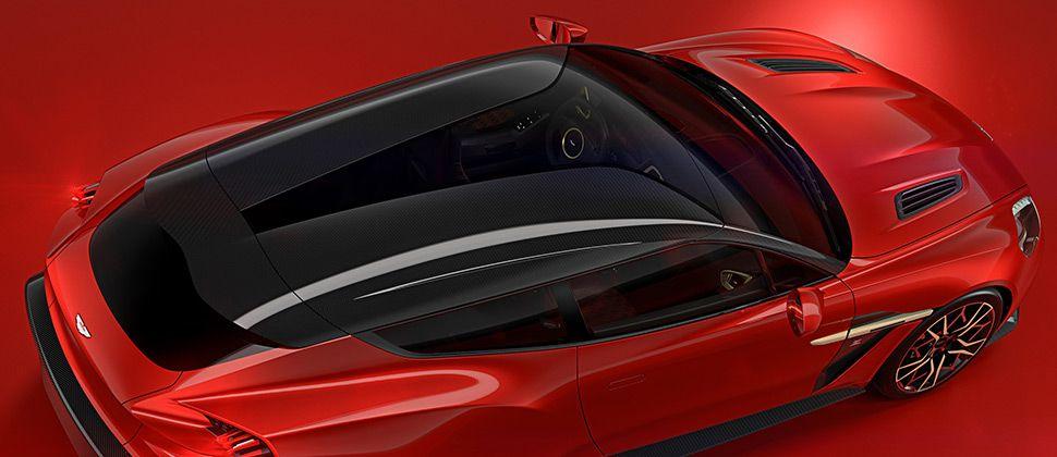 Der Aston Martin Vanquish Zagato Shooting Brake in Rot von oben.