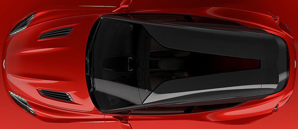Der Aston Martin Vanquish Zagato Shooting Brake mit Carbon-Dach von oben.