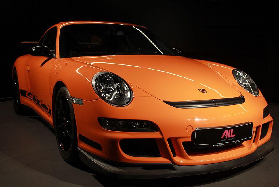 Porsche 911 997 GT3 RS Orange schräg rechts vorne