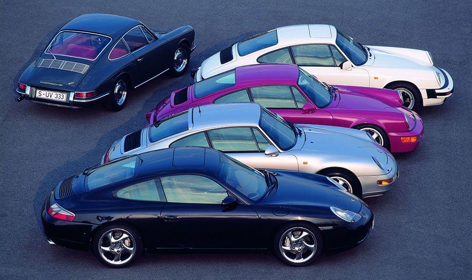 Porsche 911 verschiedener Baureihen im Uhrzeigersinn von links oben: Ur-Elfer, G-Modell, 964, 993, 996