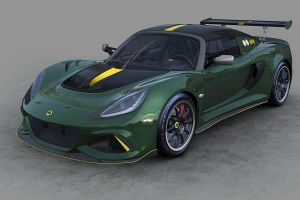 Lotus Exige Cup 430 Type 25 grün schräg links vorne