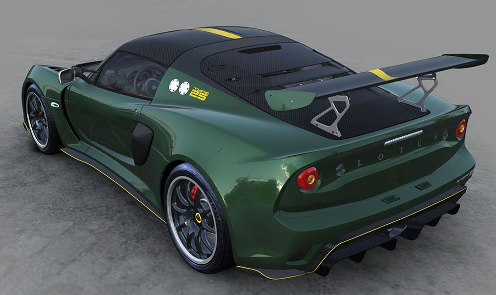 Lotus Exige Cup 430 Type 25 British Racing Green schräg links hinten