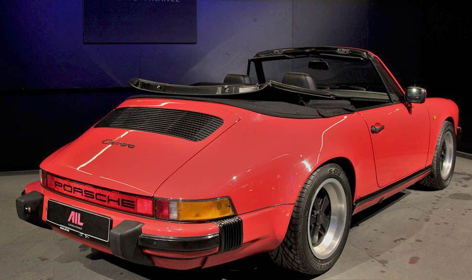 Porsche 911 Carrera 3,2 Cabrio Indischrot schräg rechts hinten