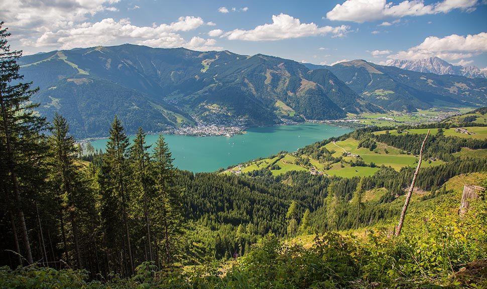 Zell am See vom Hang eines der umliegenden Berge im Sommer