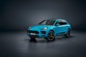 Porsche Macan Facelift 3/4 vorne links Miami Blau