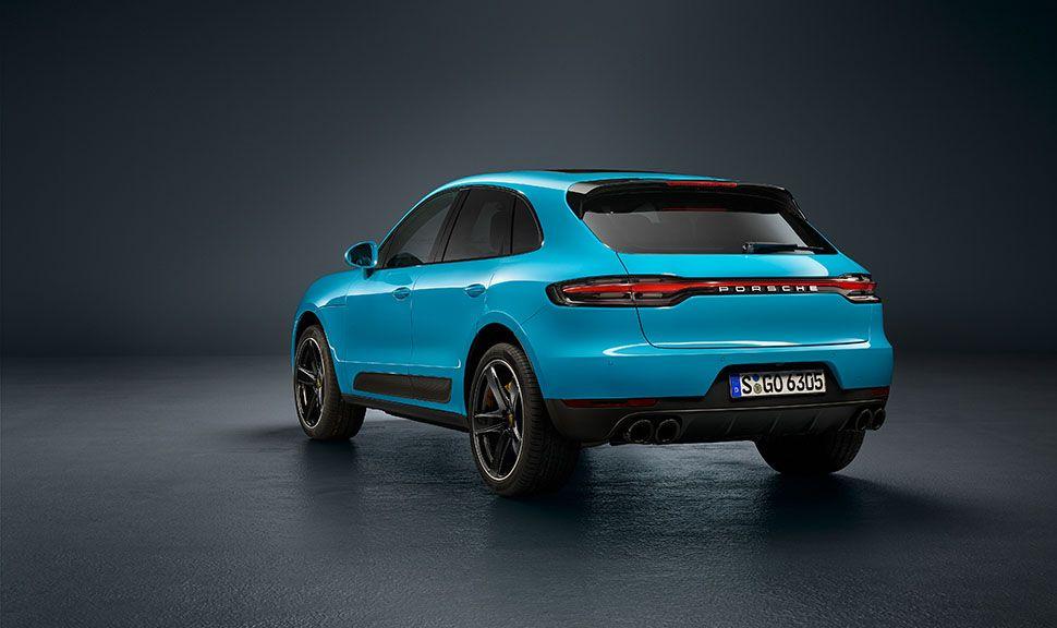 Porsche Macan Facelift 3/4 hinten links Miami Blau