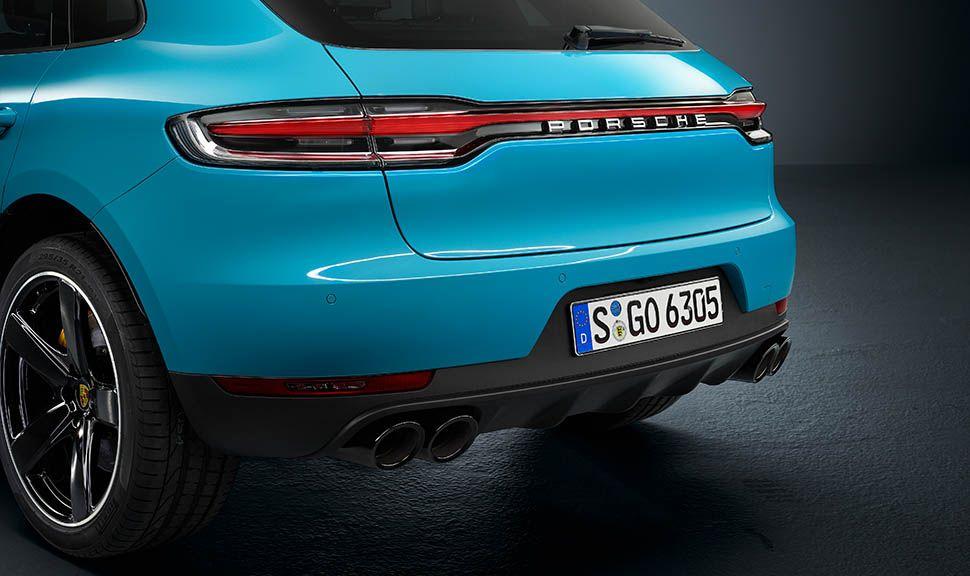 Porsche Macan Facelift Miami Blau Heckdetailaufnahme schräg links hinten