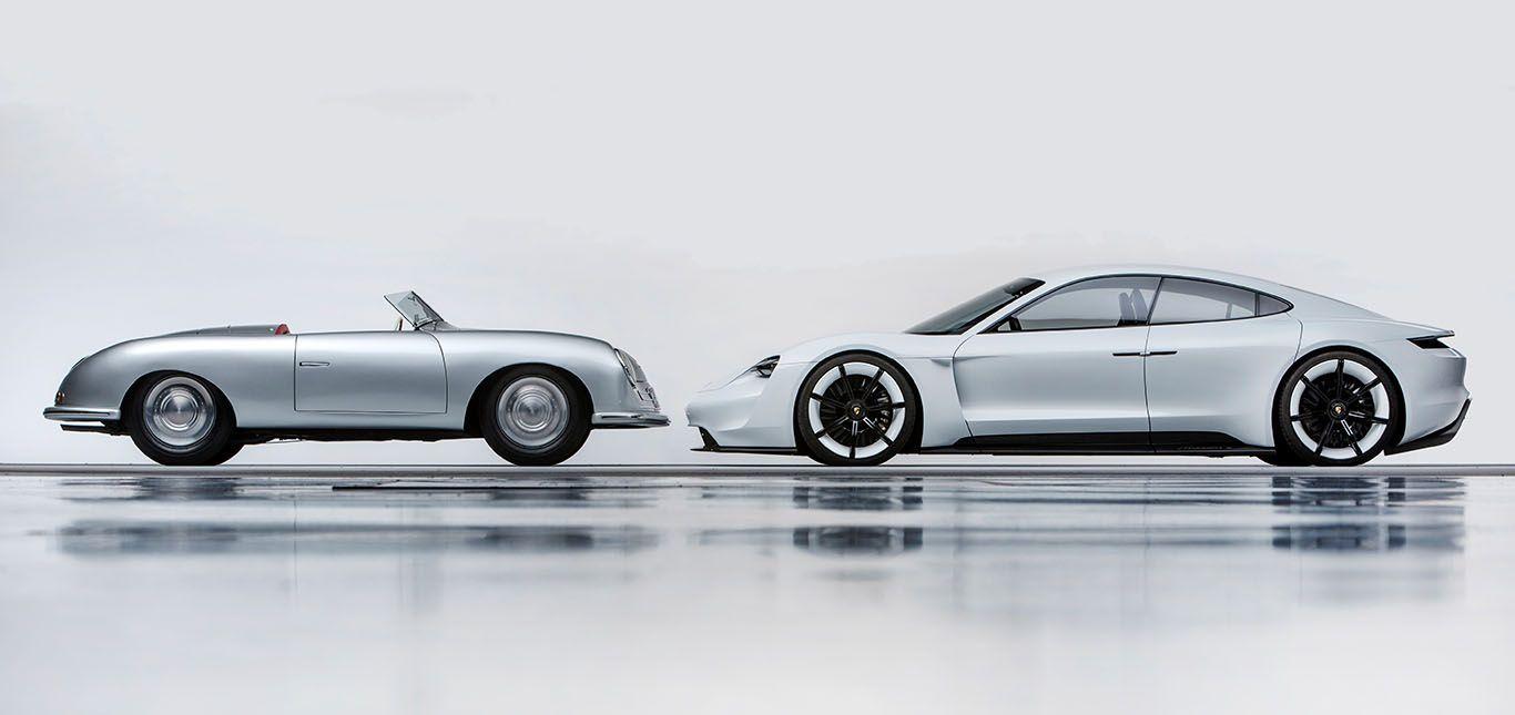 Seitenansicht Porsche 356 Nr. 1 Roadster und Mission E