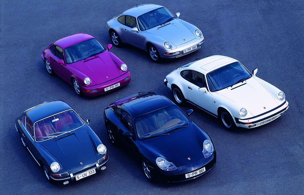 5 Porsche 911 Modelle verschiedener Generationen