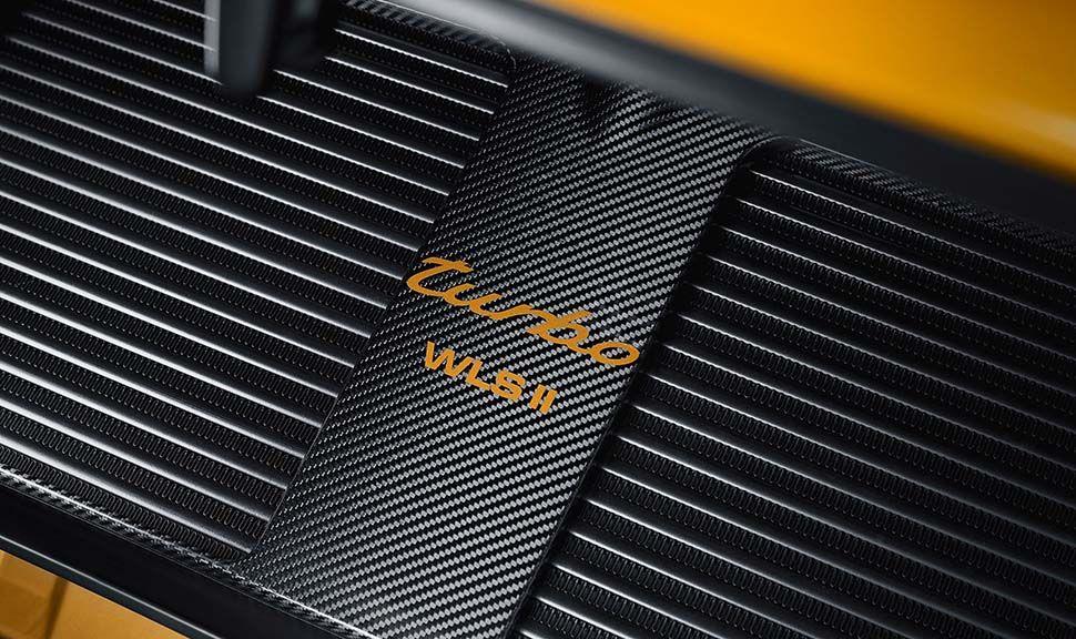 Porsche 993 turbo Gold Motorraumabdeckung mit goldenem turbo-Schriftzug