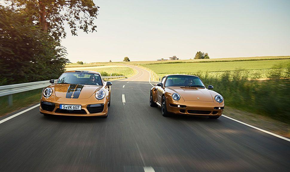 Porsche 911 991 Turbo S Exclusive Series fährt auf Landstraße neben 993 turbo Gold