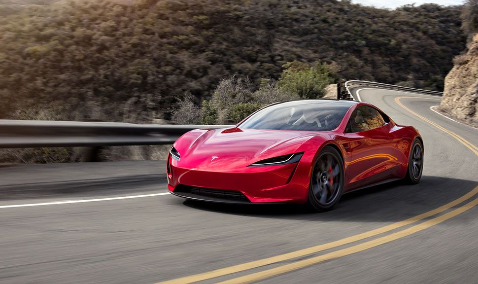 Front und Seite des Tesla Roadsters