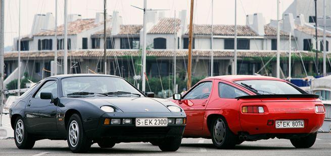 Porsche 928 in der Seiten- und Rückansicht