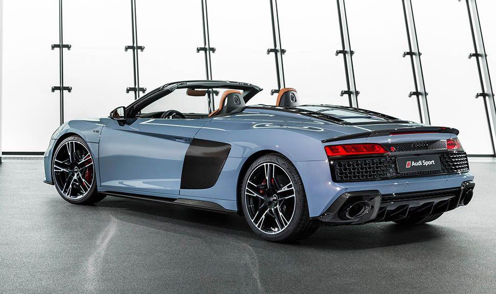Audi R8 Spyder Graublau schräg links hinten