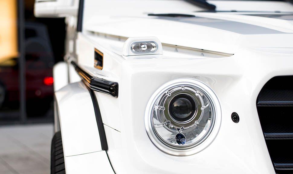 Mercedes AMG G63 by ARES Design Detailaufnahme rechter Scheinwerfer und Kotflügel