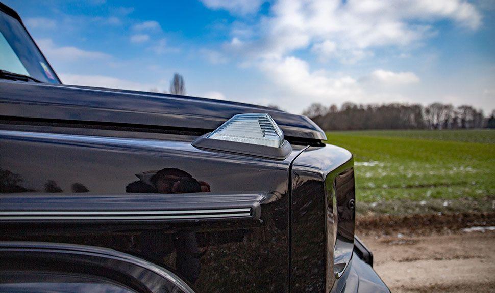 Detailaufnahme rechte vordere Ecke des Mercedes G500