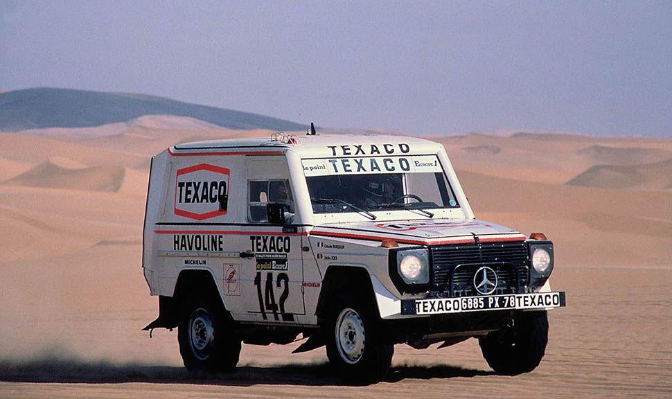Siegerauto der Rallye Paris-Dakar 1983 im Einsatz im Wüstensand