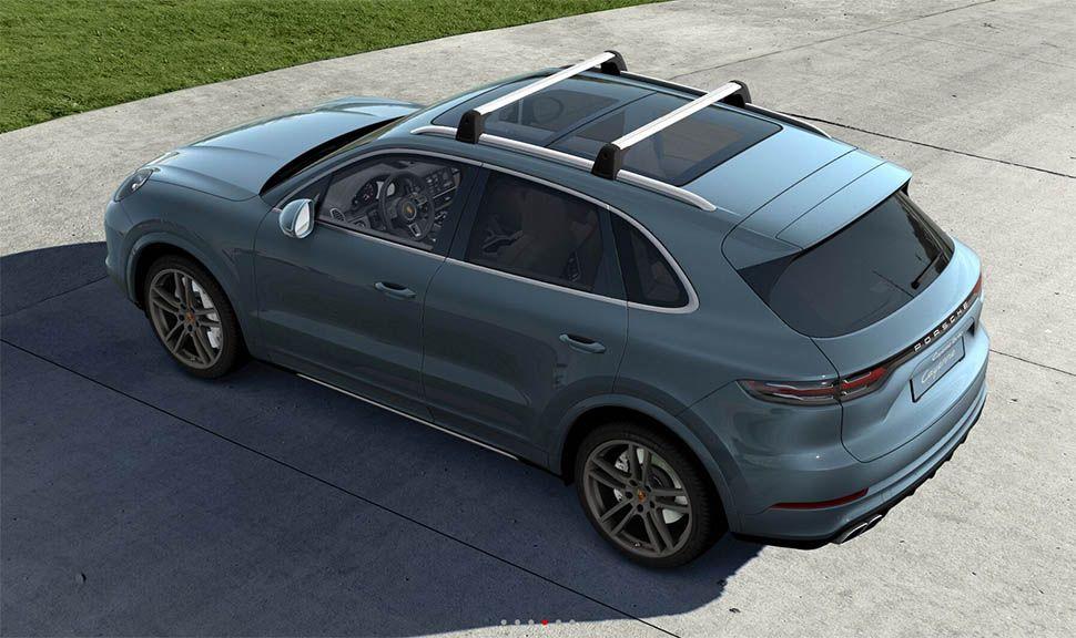 Graublauer Porsche Cayenne Turbo von oben links hinten, Blick aufs Dach (Rendering)
