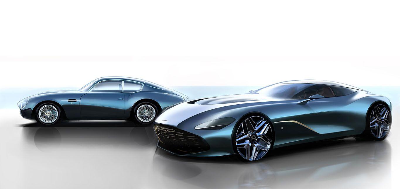 Rendering von Aston Martin DBS GT Zagato und DB4 GT Zagato Continuation