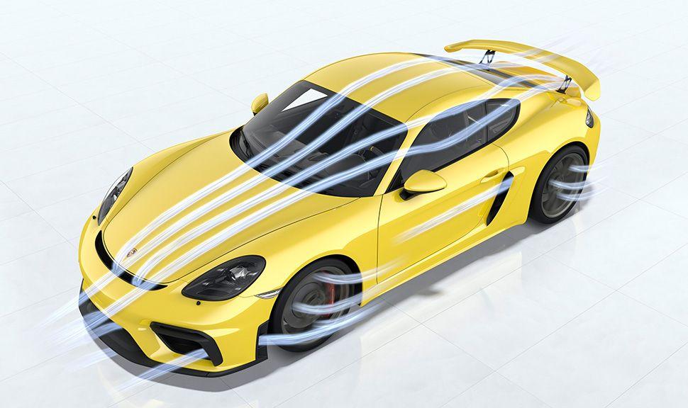 Porsche 718 Cayman GT4 im Windkanal