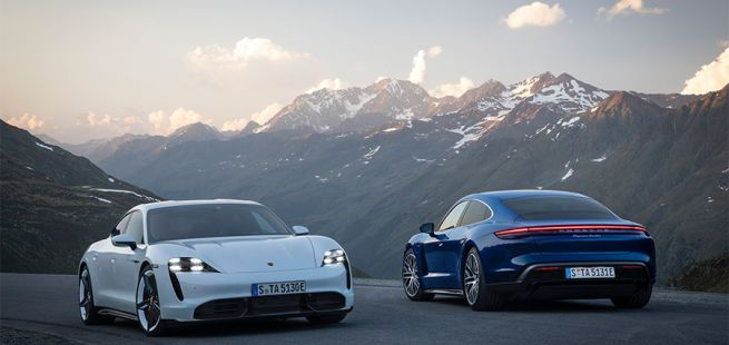 Porsche Taycan Turbo und Turbo S versetzt in den Bergen