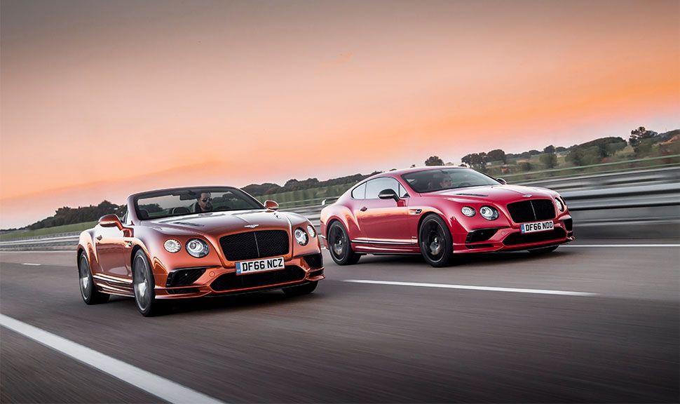 Bentley Continental GT Supersports Coupé und Cabrio fahren nebeneinander auf Rennstrecke