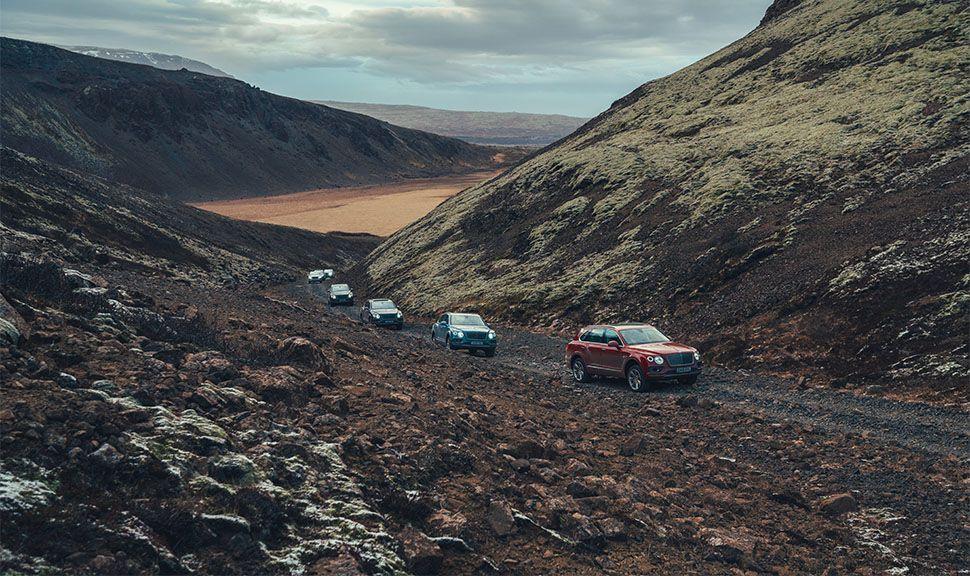 Karawane von Bentley Bentaygas in Island