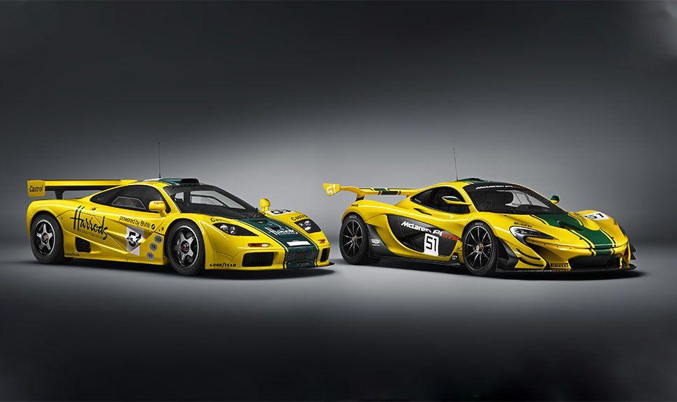McLaren F1 und P1 in Rennlackierung nebeneinander